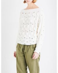 Free People | White Desert Sands Knitted Jumper | Lyst