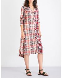 Free People - Ladies Pink Printed Casual Checked Woven Shirt Dress - Lyst