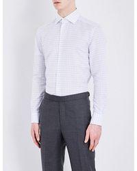 Corneliani | Blue Checked Slim-fit Linen Shirt for Men | Lyst