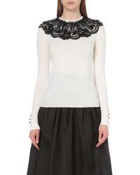 Oscar de la Renta | White Embellished-lace Wool Jumper | Lyst