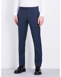 Sandro - Blue Birdseye Pattern Slim-fit Wool Trousers for Men - Lyst