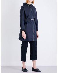 'S Max Mara | Blue Parka Embellished Shell Parka Coat | Lyst