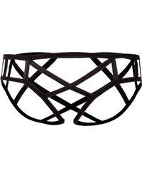 Kiki de Montparnasse - Black Cage Stretch-silk Briefs - Lyst