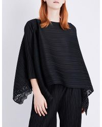 Pleats Please Issey Miyake - Black Sheer Lace Pleated Tunic Top - Lyst