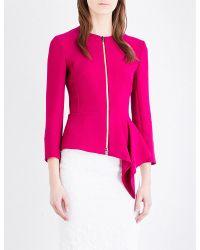 Roland Mouret | Pink Peplum-waist Wool-crepe Jacket | Lyst