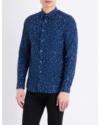 PS by Paul Smith | Blue Slim-fit Graphic-print Cotton Shirt for Men | Lyst