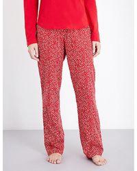 Calvin Klein | Red Patterned Straight Cotton Pyjama Bottoms | Lyst
