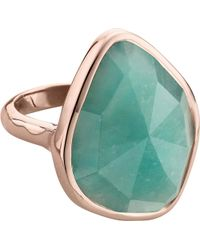Monica Vinader - Green Siren 18ct Rose Gold Vermeil And Amazonite Nugget Cocktail Ring - Lyst