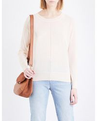 Sandro - Pink Cutout Fine-knit Cotton-blend Jumper - Lyst