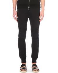 Balmain - Black Calecon Biker Cotton-jersey Jogging Bottoms for Men - Lyst