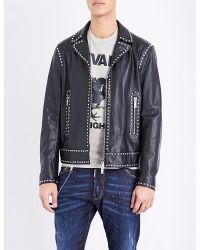 DSquared² | Black Studded Leather Jacket for Men | Lyst