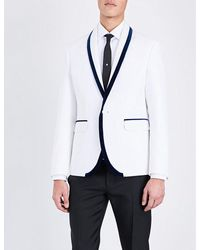 DSquared² | White Velvet-trim Slim-fit Cotton-blend Jacket for Men | Lyst