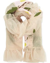 Simone Rocha - Natural Floral Embroidered Mesh Scarf - Lyst