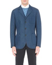 Brioni | Blue Leather-trim Quilted Silk Jacket for Men | Lyst