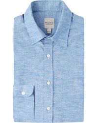 Hardy Amies - Blue Striped Regular-fit Brushed Cotton And Linen-blend Shirt for Men - Lyst
