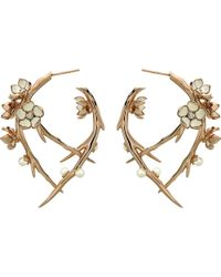 Shaun Leane | Metallic Cherry Blossom Rose-gold Vermeil, Ivory Enamel, Pearl And Diamond Hoop Earrings | Lyst
