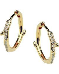Shaun Leane - Metallic Cherry Branch Yellow-gold Vermeil And Diamond Hoop Earrings - Lyst