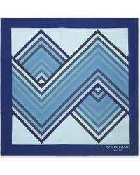Richard James - Blue Patterned Silk Pocket Square - For Men for Men - Lyst