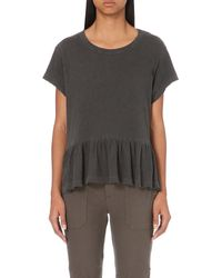The Great - Black The Ruffle Cotton-jersey T-shirt - Lyst