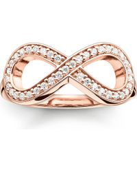 Thomas Sabo | Pink Glam & Soul Rose Gold-plated And Zirconia-pavé Infinity Ring | Lyst