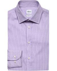 Armani - Purple Modern-fit Diamond-pattern Cotton Shirt for Men - Lyst