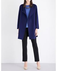 Armani | Blue V-neck Wool And Cashmere-blend Coat | Lyst