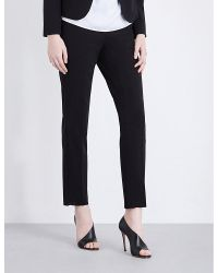 Armani | Black Slim-fit Tapered Stretch-wool Trousers | Lyst