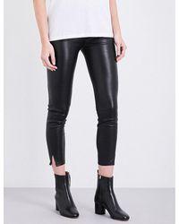 Rag & Bone | Black Capri Leather Skinny Mid-rise Jeans | Lyst