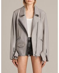 AllSaints | Gray Oversized Leather Biker Jacket Usa Usa | Lyst