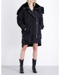 AllSaints | Black Loop Shell Parka Coat | Lyst