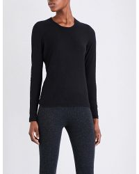 James Perse | Black Semi-sheer Cotton-jersey Top | Lyst