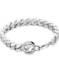 Gucci | Metallic Interlocking G Sterling Silver Bracelet | Lyst