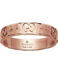 Gucci | Metallic Icon Hammered 18ct Rose Gold Ring | Lyst