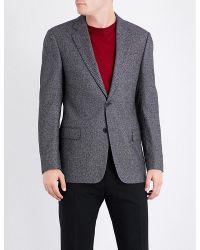 Armani   Gray Birdseye Wool-blend Blazer for Men   Lyst