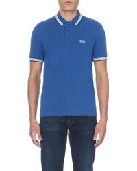 BOSS Green - Blue Paddy Contrast-trim Polo Shirt for Men - Lyst