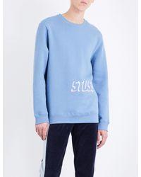 Stussy - Blue Embroidered Shadow Logo Jersey Sweatshirt for Men - Lyst