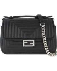 Fendi - Black Double Baguette Leather Shoulder Bag - Lyst