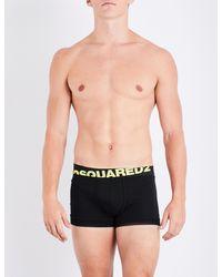 DSquared² - Black Neon Logo Stretch-cotton Trunks for Men - Lyst