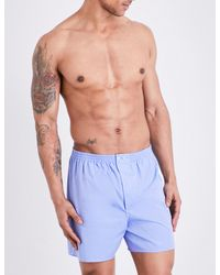 Zimmerli | Blue Woven Cotton Boxer Shorts for Men | Lyst
