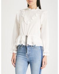 The Kooples - White Dotted Swiss Embroidered Cotton-silk Top - Lyst