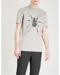 Lanvin - Gray Spider-printed Cotton-jersey T-shirt for Men - Lyst