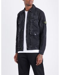 f7365595499e4 Stone Island Grid Camouflage-print Cotton-blend Overshirt in Black ...