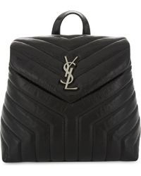 Saint Laurent - Black Loulou Small Leather Backpack - Lyst