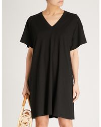 The White Company - Black Side Slits Cotton-blend Kaftan - Lyst
