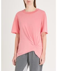 Stateside - Pink Knotted Cotton-jersey T-shirt - Lyst