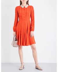 Valentino | Red Sequin-collar Fit-and-flare Silk-crepe De Chine Dress | Lyst