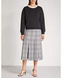 Maje Black Tenor Beaded-neckline Jersey Sweater