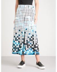 Issey Miyake - Blue Square-detail Graphic-print Woven Trousers - Lyst