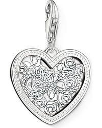 Thomas Sabo - Metallic Charm Club Silver And Zirconia Infinity Heart Charm Pendant - Lyst