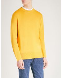 Sandro - Yellow Crewneck Silk And Cotton-blend Jumper for Men - Lyst